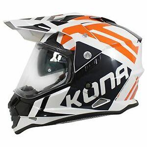 Vemar Kona Desert Motorcycle Helmet: White/Orange: Sizes Available