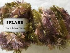 "LOT of 2 Crystal Palace Splash #7186 ""Mums"" Mauve Pink Greens Feather Boa Yarn"