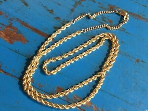 18ct 750 yellow gold twist rope chain 5.5g approx 50cm long with ext g/conditi