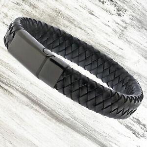 Mens Genuine Flat Leather Braided Wristband Wrap Bracelet Black Steel Clasp