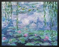 Nympheas VI by Claude Monet. Water Lilies Art Print Poster.Real Wood Black Frame
