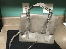 Frye Gray Distressed Leather Reed Flap Satchel Bag Purse (CON38)