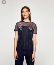 NEW Zara Size Small (8) Navy Blue Embroidered Floral Lace Top Sheer T-Shirt