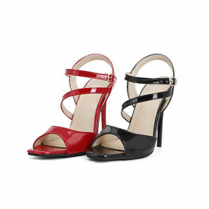 Womens 11cm High Heel Sling Back Sandals Faux Leather Open Toe Ankle Strap Shoes