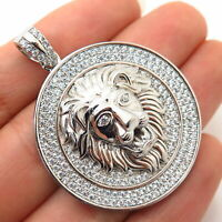 925 Sterling Silver Swarovski Crystal  Lion / Leo Zodiac Sign Design Pendant