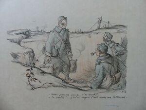 Lithographie Francique Poulbot Grande Guerre 1915  Enfants