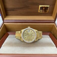 Rolex Day Date President Mens 18k Gold 18078 Bark Diamond Watch Dial Box Papers