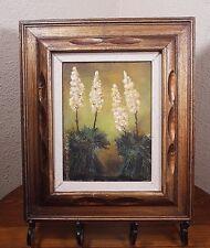 Marjorie Nichols Signed Art Vtg Framed Oil on Canvas Painting Plants Botanical