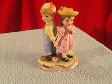 Vintage Lefton Boy and Girl Holding Hands Figurine - Backwards Lefton Stamp