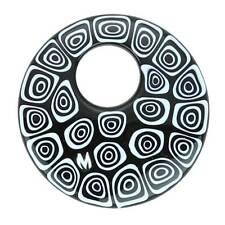 GlassOfVenice Murano Glass Millefiori Medium Round Pendant - Black and White