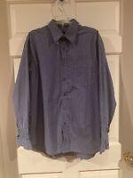 Men's Eddie Bauer Button Up Shirt Blue Plaid Wrinkle Resistant Size Medium