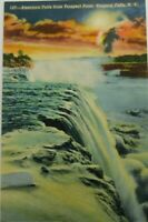 American Falls From Prospect Point Niagara Falls NY Linen Vintage Postcard