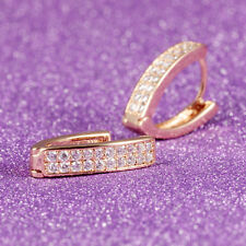 Yellow Gold GP Wedding V-shaped Two Rows CZ Huggie Lever back Earrings Gift