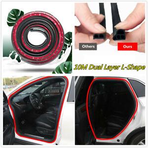 Car Door/Hood/Trunk Edge 10M Double Layer L-Shape Soundproof Rubber Seal Strip