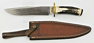 """Boker Treeland Arbolito 9 5/8"""" Stag Handle Fixed Blade In Leather Sheath"""