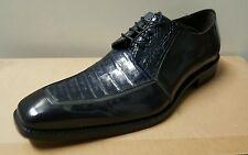Mezlan 'Mercouri' Oxford Blue Navy Men's Crocodile Patent Size 10-M $550