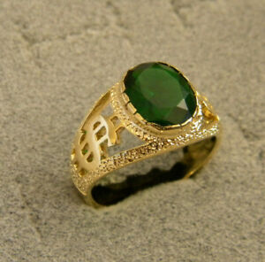 Men Oval Emerald Green CZ Yellow Gold Plated $ Sign Ring Size 11 May Birthstone