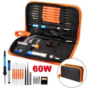 Soldering Iron Kit 60W Welding Tool Solder Tips Stand Tweezers Desoldering Pump