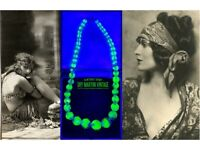 VINTAGE ART DECO BOHEMIAN CZECH BICOLOUR URANIUM BEADS NECKLACE COLLECTOR GIFT