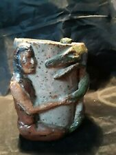 🐊 Vintage Handmade Pottery Cup W/ Native American & Alligator 🐊