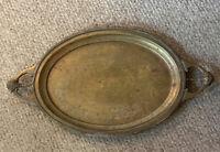 "Vintage Etched Brass /Copper Serving Tray Gargoyle Demon Handles 26.75"""