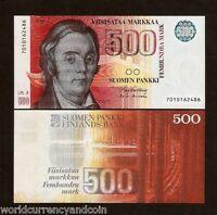 FINLAND 500 MARKKAA P120 1986 LONNROT PRE EURO UNC RARE FINNISH MONEY BILL NOTE