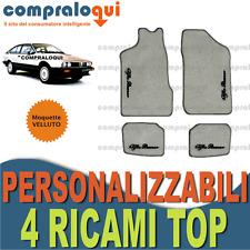per ALFA ROMEO ALFETTA GT TAPPETINI per AUTO in VELLUTO BEIGE + 4 RICAMI TOP