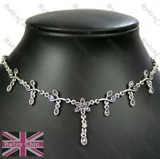 DELICATE MARCASITE NECKLACE choker VINTAGE STYLE antique silver plt crystal