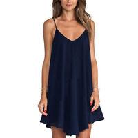 Summer Women Plus Size Spaghetti Strap Mini Dress Sexy Loose Short Skirt Beach