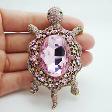 Fashion Tortoise Animal Pink Rhinestone Crystal Turtle Pendant Brooch Pin