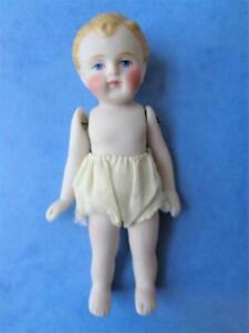"4.5"" Miniature Bisque Dollhouse Doll GERMAN BOY Antique ? Blonde Curly Hair"