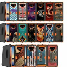 For Samsung Galaxy Note 9, TACTICAL Holster Belt Combo Orange Dual Layer Case