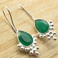 """Girl Earrings 1.3"""" !! 925 Silver Plated Natural GREEN ONYX Gem FIX WIRE"""