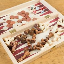 34cm 3in1 FOLDING WOODEN CHESS SET Board Game Checkers Backgammon Draughts Large