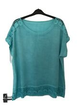 Ladies gorgeous floaty Summer Aquamarine top size  20 22 Lace Detail Very Pretty