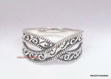 925 Sterling Silver Crisscross Filigree Design Fashion Ring Band Size 5