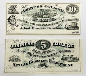 Two The Business College Bank Notes Five And 10 Newburyport, MA BUSINESS COLLEGE