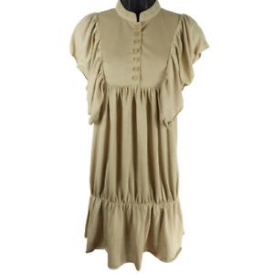Romeo & Juliet Couture Tan Short Cap Sleeve Dress Junior's Size Large