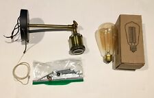 NIB PERMO Sconce Industrial Black Brass Light Fixture Wall Mount Edison Bulb