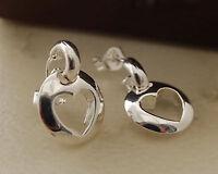 Pretty 925 Silver Plated Hollow Heart Drop Stud Earrings - New - 72