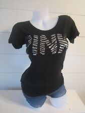 PINK by Victoria's Secret Black Sequin Logo Top Shirt Casual XS