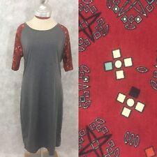 NWT Lularoe Julia NEW Pencil Dress XL extra large Gray body Black Red geometric