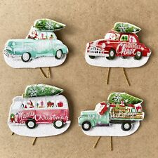 Punch Studio Gift Tags 16 Retro Santa Vintage Cars 3D Die-Cut Embellished M&R