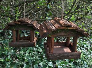 Set of 2 Hanging Wooden Bird Table Feeders Rustic Garden Wild Seed Feeder