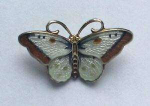Very small vintage sterling silver gilt & enamel butterfly pendant fr Norway