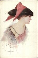Beautiful Woman Pink Feathers in Hat c1910 Artist Signed Postcard MUNK 1131