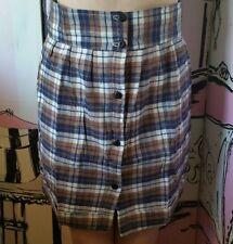 BNWT Size XS 8 Motel Rocks Topshop R&R Razz Check Pencil Skirt Pocket Blue Brown
