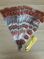 Halloween Pumpkin Cellophane Cones with Ties for Candy Sweet Treats 20 or 40