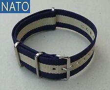 BRACELET MONTRE NATO 20mm (bleu navy/ sable) compatible Yema Zodiac Breitling