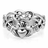 Sterling Silver Celtic Knot Infinity Symbol Irish Claddagh Friendship Love Ring